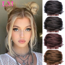 Chignon Ponytails Hair-Tie Scrunchie Messy Bun Synthetic-Hair Brown Curly Ring-Wrap Rubber-Band
