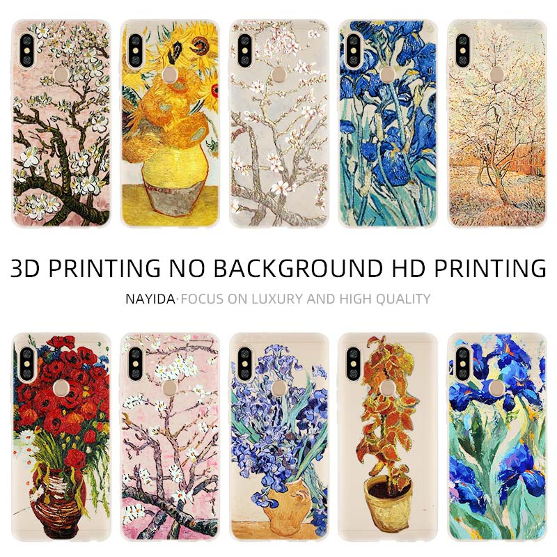 Phone Case Cover Soft For <font><b>Xiaomi</b></font> 9 8 <font><b>Mi</b></font> A1 A2 <font><b>A3</b></font> lite F1 6 5X se For Redmi Note 8 7 6 5 <font><b>Van</b></font> <font><b>Gogh</b></font> flower image