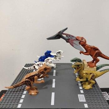Locking Blocks Jurassic Dinosaurs Tyrannosaurus Rex Wyvern Velociraptor Stegosaurus Building Blocks Toys For Children Dinosaur jurassic dinosaur park indominus rex diy blocks dinosaurs tyrannosaurus rex tiny models building block kids toys creator animals