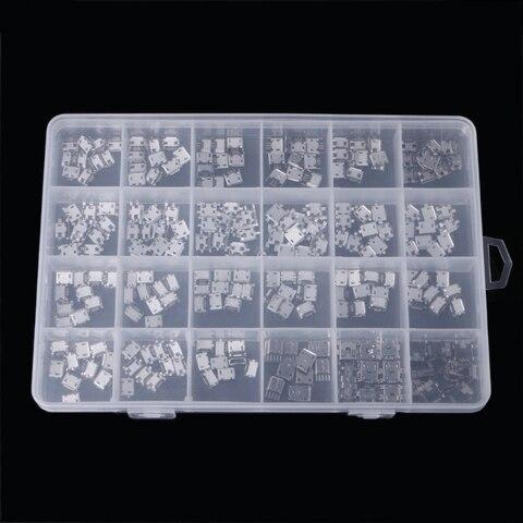 240 pcs caixa 24 modelos micro conector usb jack soquete micro conectores usb jack conjunto