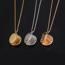 Fashion Trendy Open Photo Locket Pendant Stainless Steel Necklace For Women Lover Gold And  Steel Color Charm Necklace Jewelry chereda stainless steel necklace for women man lover s girl gold and silver color pendant necklace engagement jewelry