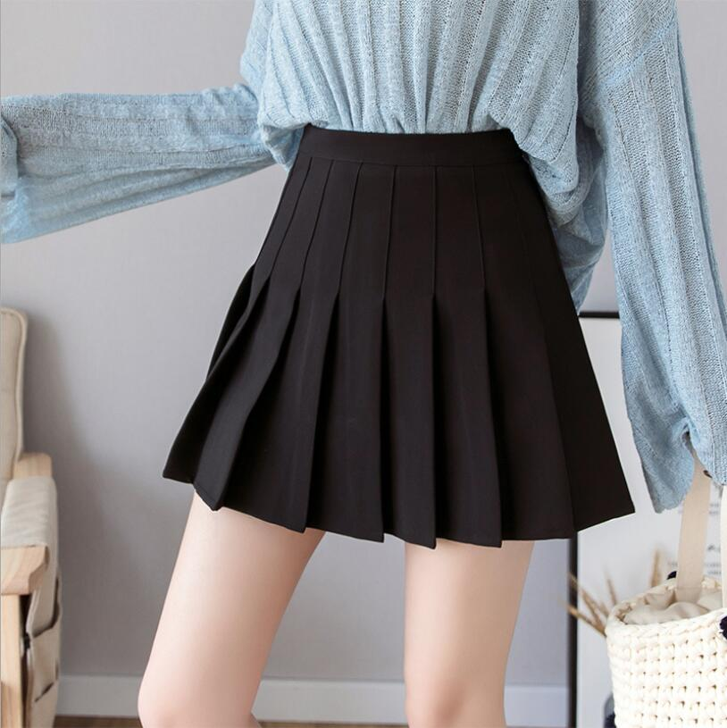 Hc4b153b000a84cb190e4cf730d6cc39bo - Sexy Women Pleated Skirt Lovely Girl School Uniform Skirt Solid High Waist Mini Skirts Cute Female Pleated Mini Skirts