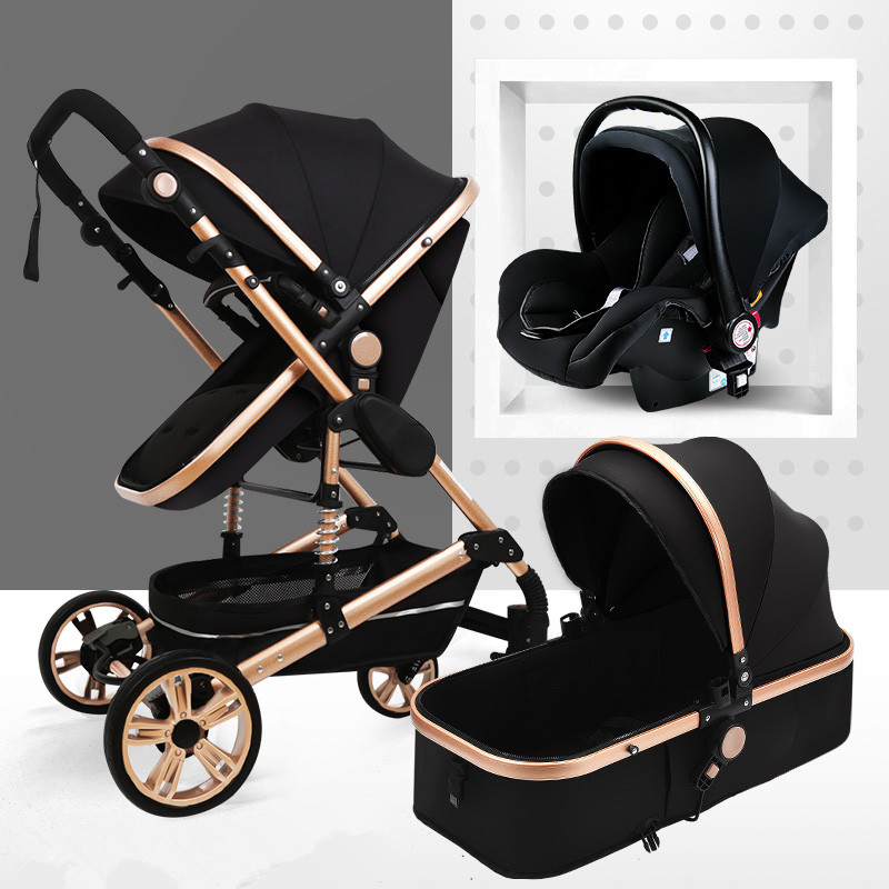 Multifunctional 3 In 1 Baby Stroller Portable High Landscape Stroller Folding Carriage Gold Baby Stroller Newborn Stroller