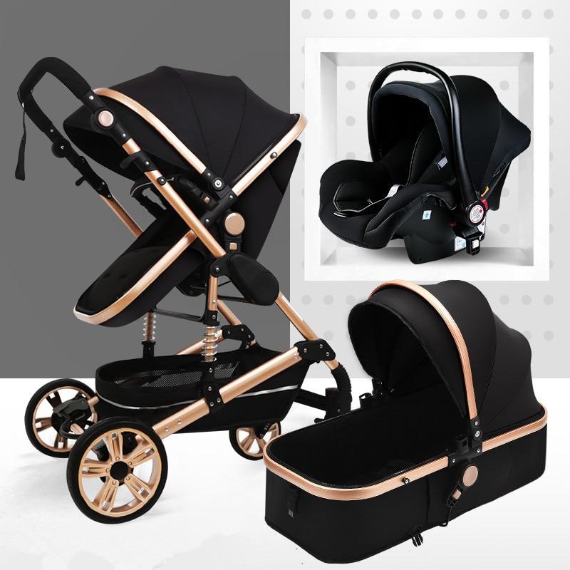 Multifunctional 3 In 1 Baby Stroller Portable High Landscape Stroller Folding Carriage Gold Baby Stroller Newborn Stroller