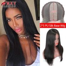 Peruca reta rxy moda glueless perucas de cabelo humano para as mulheres cabelo humano 2x5 base de seda do plutônio fechamento do laço peruca linha natural