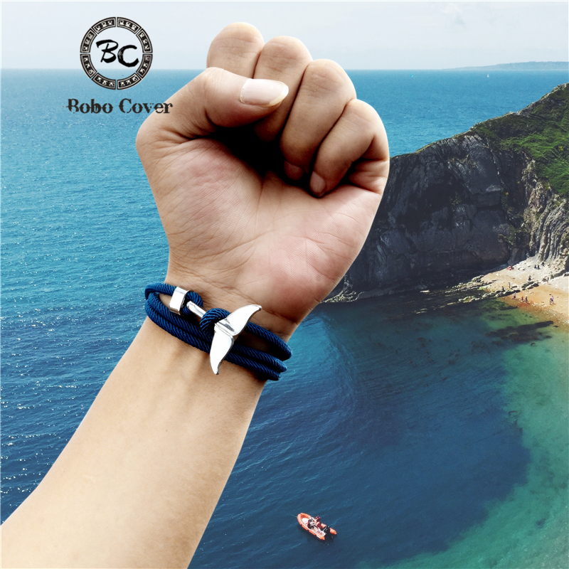 Charm Whale tail Anchor Bracelet Men Women Colorful Survival Rope Couple Bracelets homme femme lucky Lover Jewelry water sports(China)
