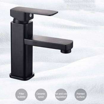 цена на Single Handle Bathroom Basin Faucets Cold/Hot Mixer Basin Sink Tap Black Water Kitchen Faucet Bathroom Accessories