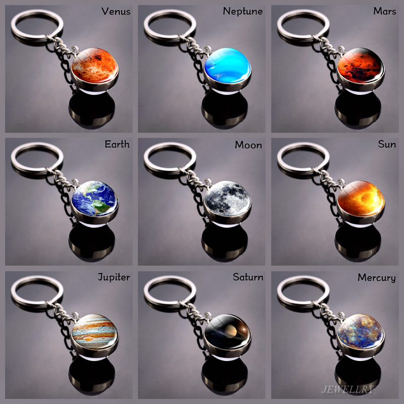 Full Moon Keychain Solar System Planet Keyrings Galaxy Nebula Space Universe Earth Sun Mars Jupiter Saturn Glass Ball Key Chain