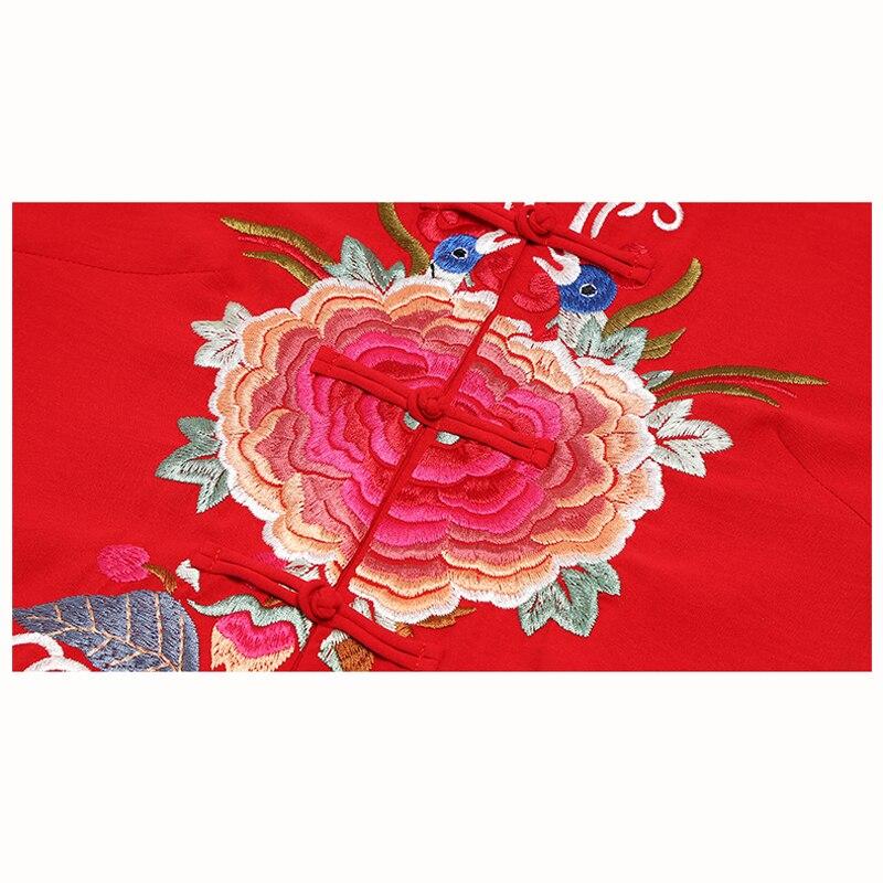 2019 frühling und herbst neue Chinesischen Stil Lange kleid frauen vintage Stickerei langarm Ankle Länge kleid frauen kleidung - 5