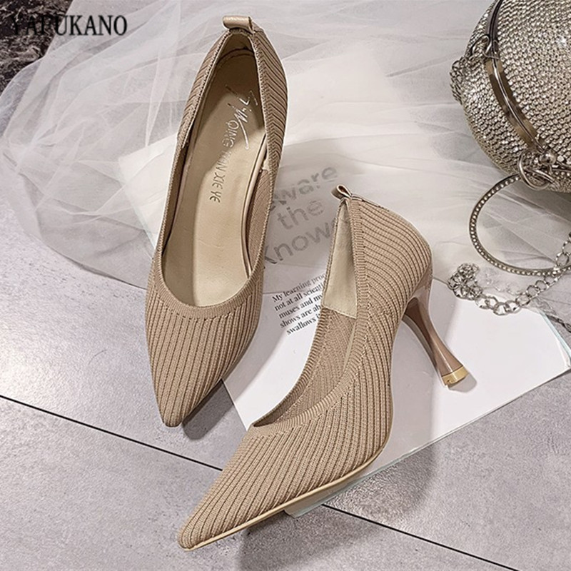 Fashion Knitted Breathable Women Pumps 2020 New Pointed Toe High Heels Lady Shoes Wild Comfortable Thin Heel Office Work Shoes