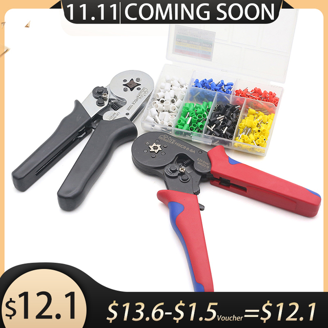 Free Shipping HSC8 6 6 0.25 6mm 23 10AWG Adjustable Hexagon Tube Bootlace Terminal Crimping Pliers Crimp Hand Tools Ferramentas