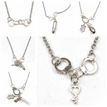 цены New Fashion Mini Pistol Bullet Grenade Shield Key Handcuffs Necklace Mini Pendant Gift Necklace Jewelry Handmade Necklace Gift