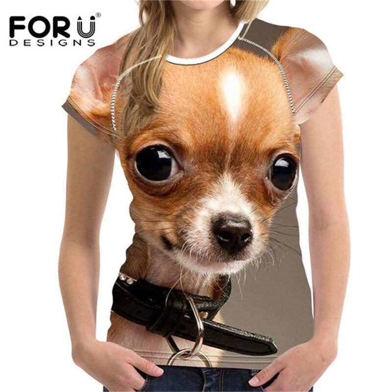 FORUDESIGNS Kawaii Female T-shirt Women Cute Pomeranian T Shirt Woman Crop Tops For Girl Feminine Bodybuilding Tees Shirts New