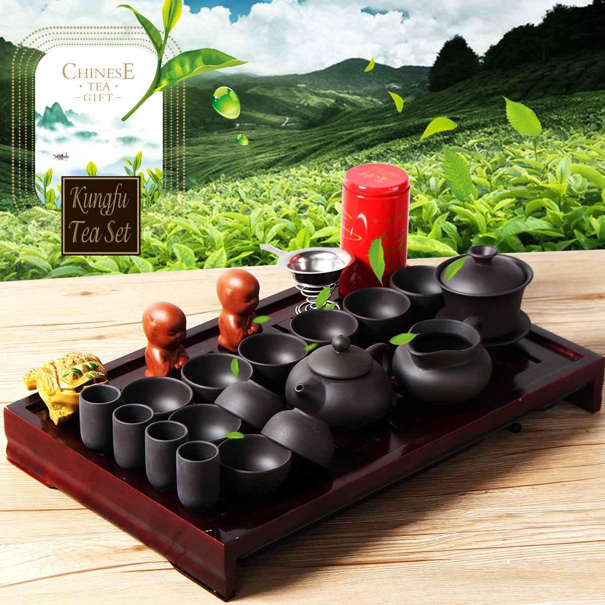 Chinese Porcelain Kung Fu Tea Set Wooden Tea Tray Tea Pet Teapot Tools Home Kitchen Teahouse Teaware Set Drinkware Tea Service
