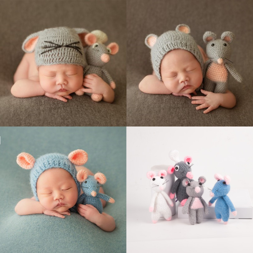 Newborn Photography Prop Accessories Cute Baby Hat Mouse Doll Set Baby Photo Prop Crochet Infant Shoot Outfits Studio Fotografia