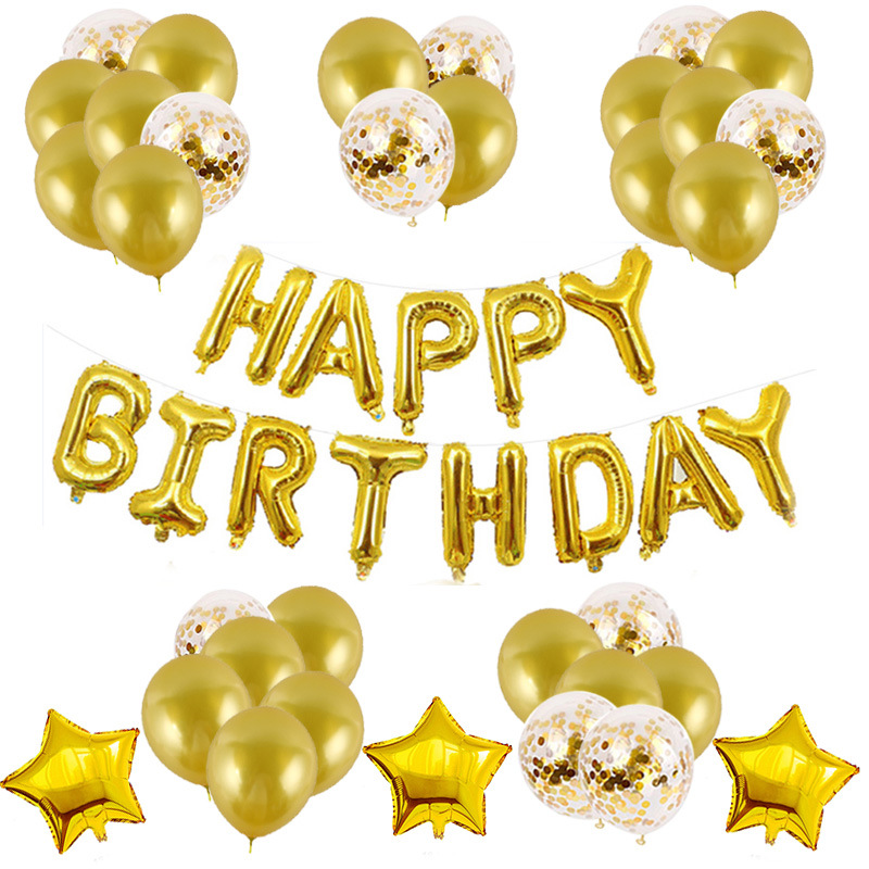 Birthday Party Decorations Happy Birthday Banner 30pcs Latex Balloon Confetti Balloon Latex Balloon Stars Send Ribbon 1 Roll