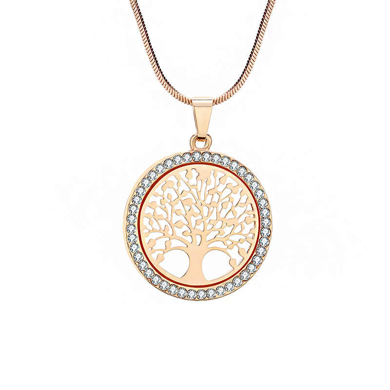 New Fashion Charm Tree of Life Crystal Round Pendant Necklace Gold Silver Color Bijoux Collier Elegant Women Jewelry Gift