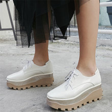 Trainers Women Genuine Leather Wedges High Heel Ankle Boots Female Lace Up Platform Pumps Shoes Casual Shoes Fashion Sneakers punk trainers women cow leather wedges high heel platform pumps shoes female lace up tennis shoes embroider flowers casual shoes