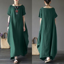 2020 ZANZEA Summer Sundress Casual Cotton Women's Maxi Dress Elegant Short Sleeve Tunic Vestidos Female Baggy Robe Oversized 5XL