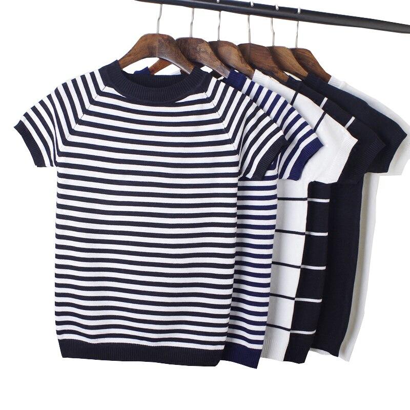 Gkfnmt Летняя трикотажная Футболка женская одежда 2020 женские футболки с коротким рукавом топы полосатая Повседневная футболка Женская футболка женская мода|Футболки|   | АлиЭкспресс