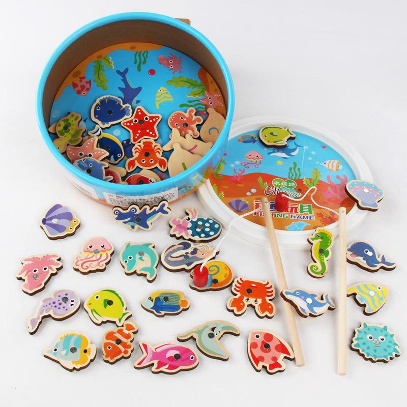 New Hot 41pcs Fish Wooden Fishing Toys Magnetic Baby Digital Alphabet Educational Toys For Children Puzzle Game Outdoor Play Set