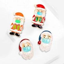 Рождественские Броши заколки милый Санта Снеговик Клаус шляпа