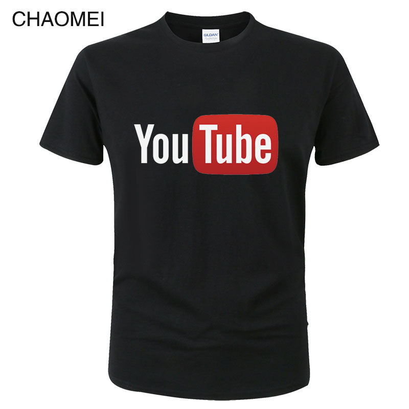 Summer Funny Male   T  -  Shirt   Youtube Printed Cotton   T  -  shirt   Men You Tube   T     Shirt   Men Women Brand Tees Cotton   Shirt   Tops C17