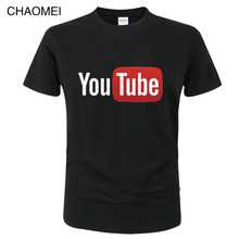 Summer Funny Male T-Shirt Youtube Printed Cotton T