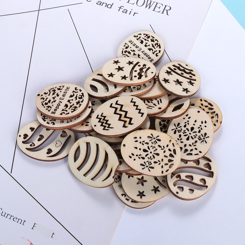 Easter Egg Wooden Buttons Decorative Two Holes Eggs Shape Geometric 30mm 20pcs