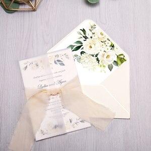 Image 5 - 50pcs Wedding Invitations Burgundy Color with Flower Envelope, Ribbon for Wedding