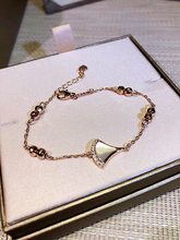S925 sterling silver rose gold white Fritillaria fashionable new bracelet small skirt fan-shaped bracelet small skirt(China)