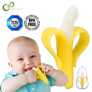 High Quality Baby Teether Toys BPA Banana Teething Ring Silicone Chew Dental Care Toothbrush Nursing Beads Gift For Infant GYH