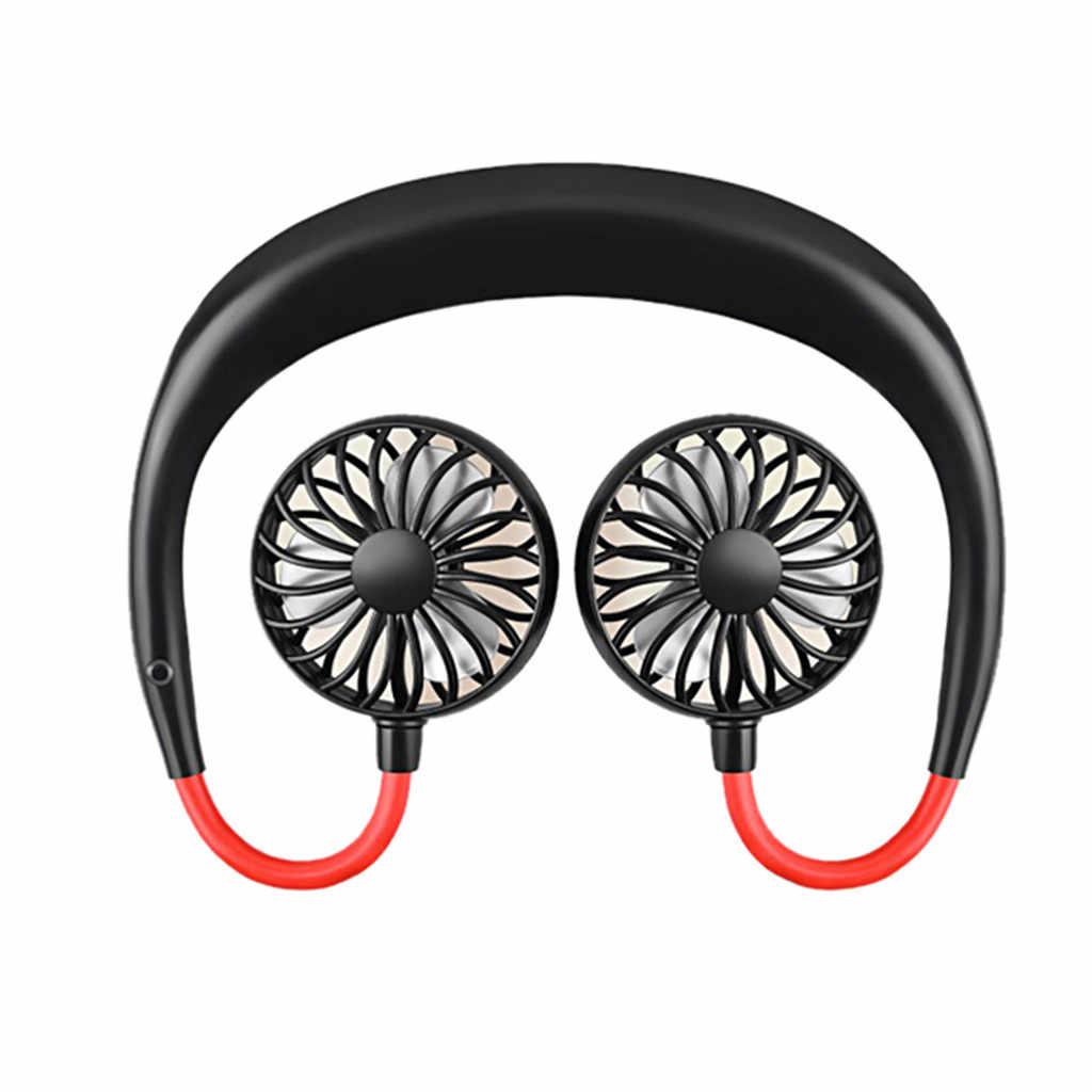 2019 حر اليدين الرقبة الفرقة حر اليدين شنقا USB قابلة للشحن المزدوج مروحة مبرد الهواء الصغير الصيف المحمولة