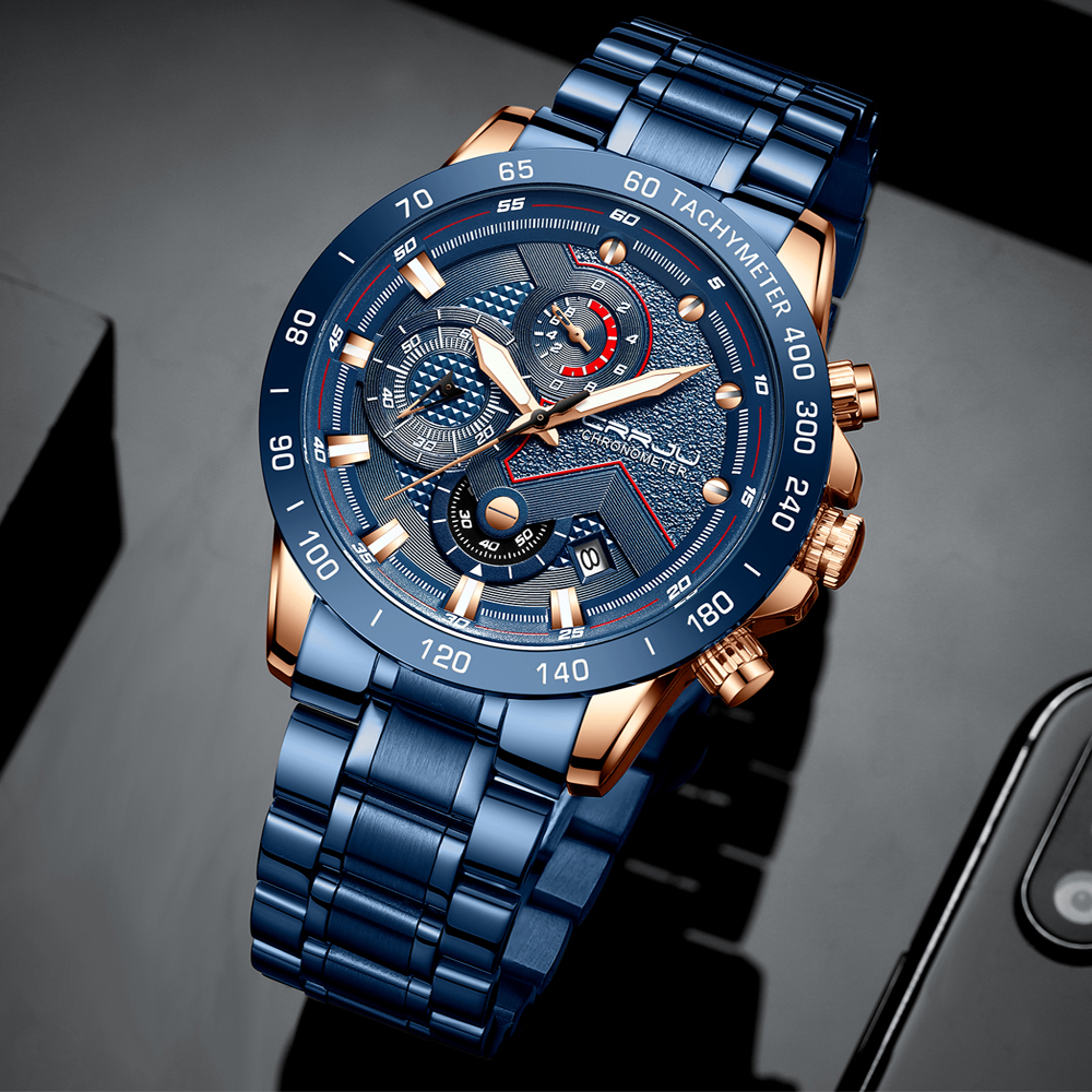 CRRJU Fashion Men Watches Top Luxury Brand Chronograph Wristwatch Male Clock Sport Waterproof Quartz Watch Men Relogio Masculino