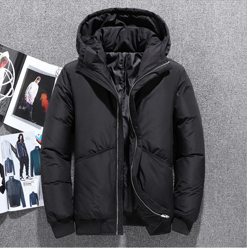 Size-Coat White-Duck-Down Winter Casual New Warm Thick Hood Windproof Wate Pike Men's title=