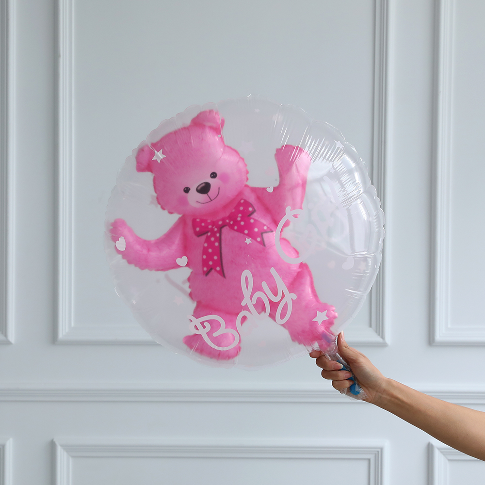 24inch Baby Girl Blue Pink Bubble Ball in Ball Bear Ball Boy 4D Bear Foil Balloons Birthday Baby Shower Decorations Kids Toys
