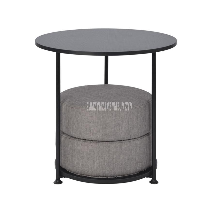 55cm Nordic Round Table With 2PCS Floor Seat Cushion Modern Simple Design Tea Coffee Table Wood Desktop Carbon Steel Bracket