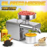 Hogar 220 V/110 V de acero inoxidable máquina de prensa de aceite prensado de aceite UE/EE. UU. Cacahuete Oliva máquina para aceite uso para sésamo almendra nuez
