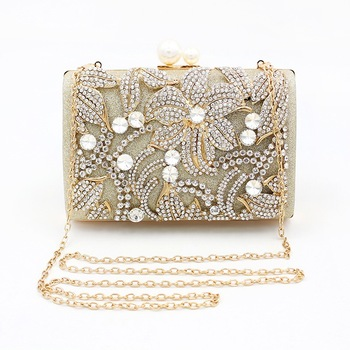 Wedding Purse Evening Silver Rhinestone Flowers Clutch Bag Weave Banquet Bag Wallet Women Luxury Handbag Gold Diamond Party Bag