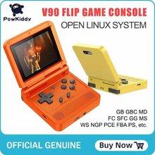 Powkiddy v90 3-inch ips tela flip handheld console duplo sistema linux game console 2000 jogos para ps1 nes sfc para criança
