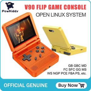 Powkiddy V90 3-inch IPS screen Flip Handheld console dual Linux System game console 2000 Games For PS1 NES SFC For kid