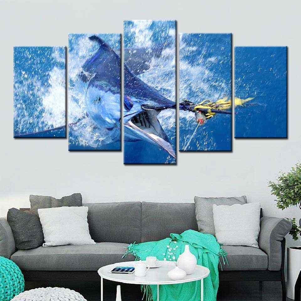 HD In Mô Đun Hình 5 Miếng Marlin Cá Ngừ Cá Tranh Trang Trí Phòng Khách Bay Mật Ong Poster Vải Bố