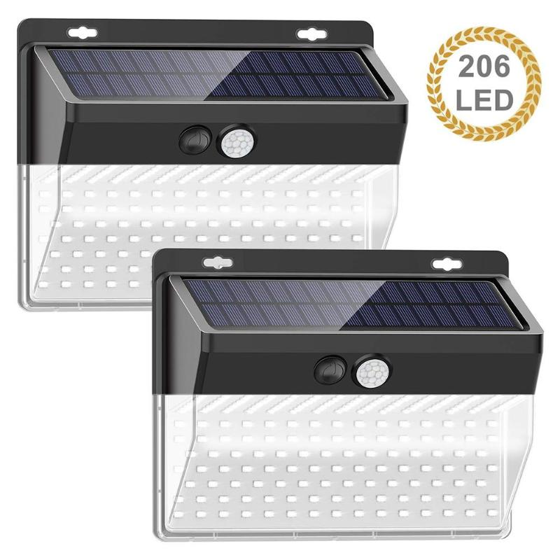 206 LED Solar Light PIR Motion Sensor Wall Light Outdoors IP65 Waterproof Solar Powered Lamp Sunlight Garden Street Decoration