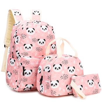 3 sztuk zestawy plecak + posiłek + ołówek przypadku drukowania torby szkolne materiałowe plecak studencki torby szkolne nastoletnia dziewczyny torby na ramię tanie i dobre opinie runningtiger PŁÓTNO CN (pochodzenie) żakaradowy Unisex Miękka osłona 20-35 litrów Otwór na wyjście Kieszonka na telefo
