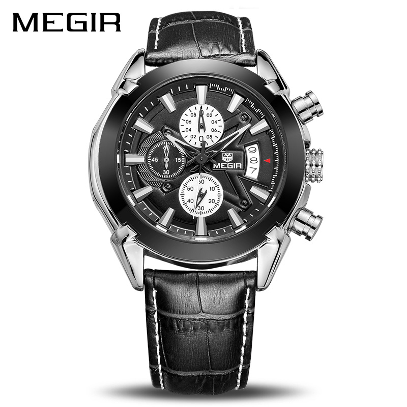 Image 1 - Relogio masculino Megir Calendar Chronograph Military Watches Men Fashion Casual Sports Genuine Leather Watch Time Clock Male-in Quartz Watches from Watches