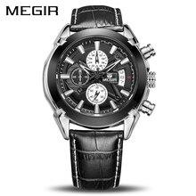 Relogio masculino Megir לוח שנה הכרונוגרף צבאי שעונים גברים אופנה מזדמנים ספורט עור אמיתי שעון זמן שעון זכר