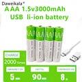 2021 Новые USB AAA перезаряжаемые батареи 1,5 в 3000 мАч литий-ионная батарея для пульта дистанционного управления электрическая игрушечная батаре...