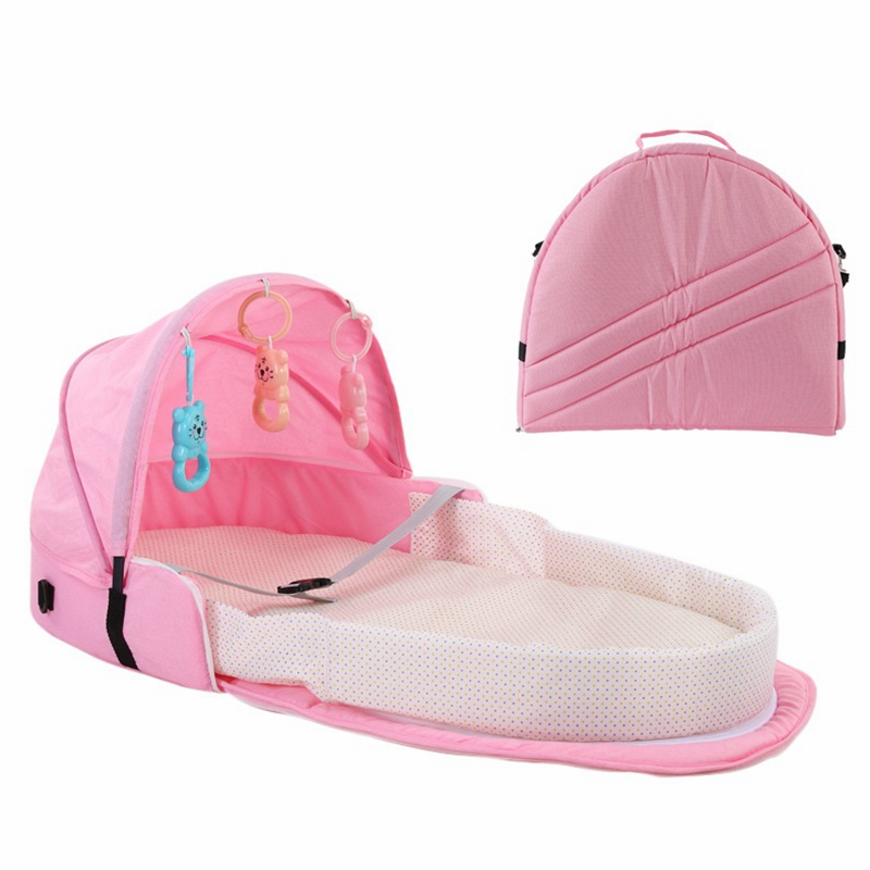Portable Bassinet For Baby Foldable Baby Bed Travel Sun Protection Breathable Infant Sleeping Basket With Toys