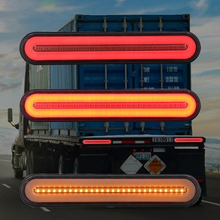 2Pcs Waterproof LED Trailer Truck Brake Light 3 in1 Neon Halo Ring Tail Brake Stop Turn Light Sequential Flowing Signal Light La