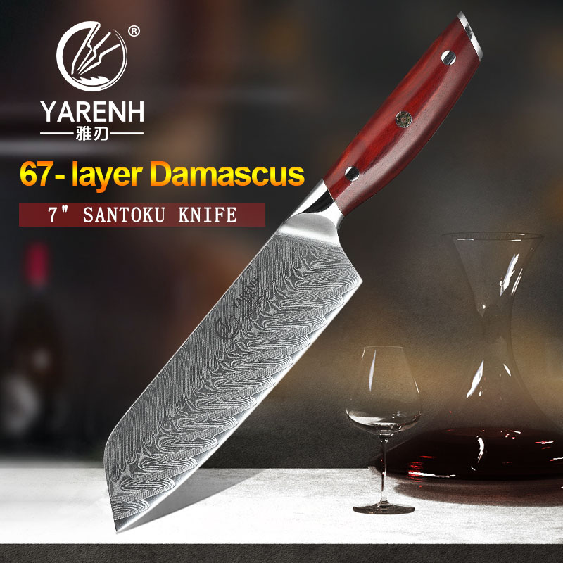 YARENH 7 Inch Santoku Japanese Knife 67 Layers Damascus Steel Sharp Kitchen Knives Utility Cooking Chef Knife Rosewood Handle